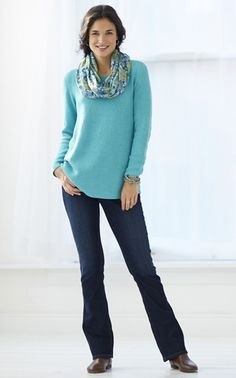 Good for weekends?  Like the length of the top and that it is a little loose.  Would hide my middle : )  Scarf is cute too