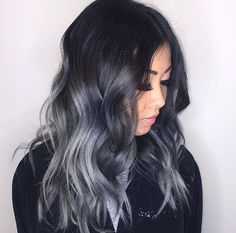 Smoked ombre hair | black and silver grey toned long waxy pretty modern edgy hair style