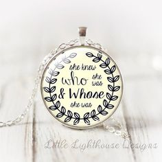 She Knew Who She Was Pendant Necklace by LittleLighthouseD on Etsy