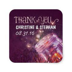 plum thank you stickers with mason jar lights