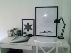 Home office, black and white, typography