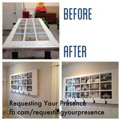 We turned this antique 15 light French door into a unique photo display  For more DIY projects and inspiration follow our pages on Facebook:  www.facebook.com/requestingyourpresence