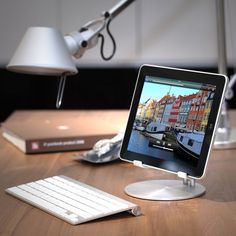 Just Mobile UpStand is the high-style desktop stand for iPad and tablets. Precision engineered from aluminum, the UpStand's supporting grips are finished in rubber to hold your iPad firmly in place and keep it pristine. It's compatible with iPad cases, too.The UpStand will float your iPad at just the right height for desktop use - it's perfect for working with a Bluetooth keyboard, watching movies or using the iPad as a digital picture frame. Add the right app, UpStand will even turn ...