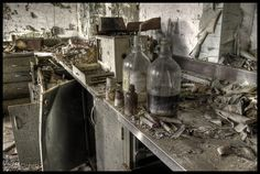"""Laboratory in an abandoned Children's Insane Asylum on the """"Dirty Garbage Tour,"""" taken circa 2011 in Maryland, US."""