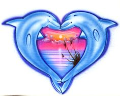 Link to graphics and drawing sites that have Dolphins in the shape of a heart.