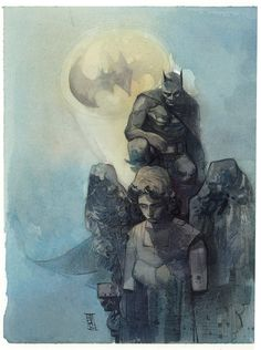 Batman watercolor by Alex Maleev.