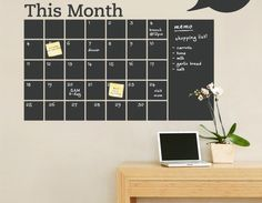 Get organized with a chalkboard wall calendar. | 10 DIY Tips For Keeping Your New Year's Resolutions