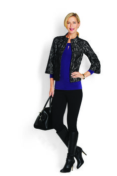 Lace Overlay Jacket, Jersey Twist Knot Top, & Classic Ponte 5 Pocket Pant