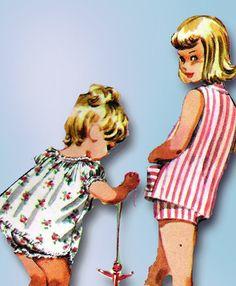 1950s Vintage McCalls Sewing Pattern 3595 Toddler Girls Shortie Pajamas Size 4