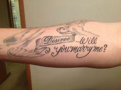 My husband's proposal tattoo.