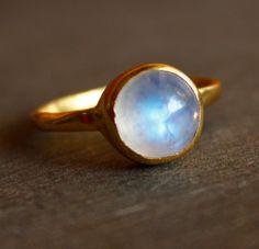Rainbow Moonstone Ring - Round - Vermeil Gold, Stacking Ring, June Birthstone Ring, June Birthdays.