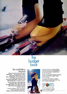 SKIING Sep 1970 - Rosemount - pugski Ski Equipment, Ski Gear, Alpine Skiing, Vintage Ski, Advertising, Couch, History, Hot Shoes, Settee