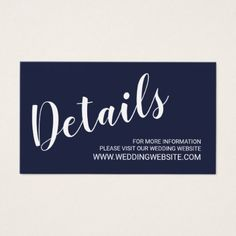 Modern Script Navy Blue Wedding Website Card - script gifts template templates diy customize personalize special