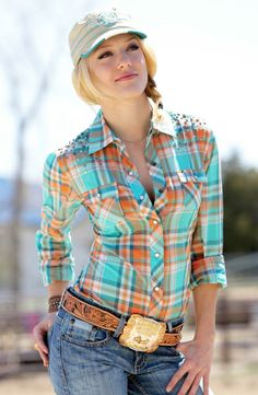 Cruel Womens Long Sleeve Studded Plaid Snap Western Shirt - Orange $49.97