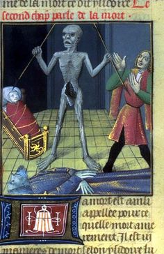 Dance of Death, also variously called Danse Macabre, Dança de la Mòrt , Danza Macabra or Totentanz is a late-medieval allegory on the universality of death. Medieval Life, Medieval Art, Renaissance Art, Memento Mori, Art Macabre, Danse Macabre, Medieval Manuscript, Illuminated Manuscript, History Of Zombies