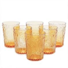 Amber coloured water glasses made using a traditional Portuguese mould and hand pressed for beautiful Lisboa pattern. Aren't they pretty? We absolutely love them and so do our guests. For dinner drinks or just simply for water, they will brighten up your table - promise. Perfect gift for wedding and engagement.