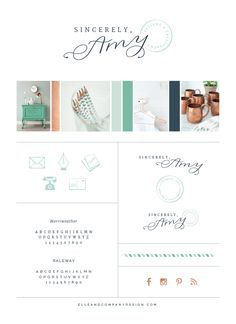 Brand style board for Sincerely Amy Designs - Elle & Company
