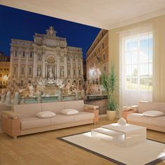 Trevi Fountain x Wallpaper East Urban Home Rome, Trevi Fountain, Vintage Design, Decoration, Wall Murals, Urban, Mansions, Wallpaper, House Styles