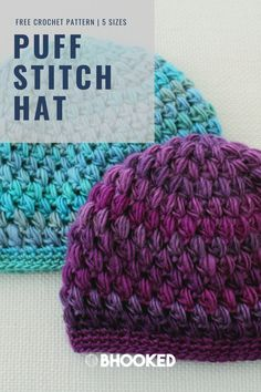 The Puff Stitch Hat is the pefect blend of texture and cozy warmth you want in a hat. Our most popular weekend project has been made by thousands. #BHooked #Crochet #FreeCrochetPattern