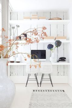 White interior with orange flower accent