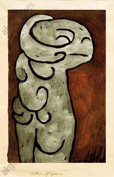 "GötzinKlee, Paul 1879–1940.  ""Götzin"" (Female Idol),  1939, 901 (XX 1). Watercolour, tempera and wax crayon on black foundation on paper, with dabs of glue on cardboard, 32.7 × 21cm. Gift of LK, Bern, Paul Klee Museum."
