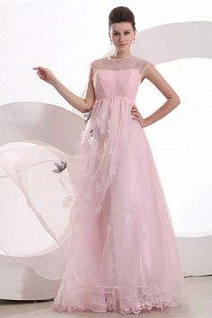 Pink Organza Strapless Bridesmaids Gown - Order Link: http://www.theweddingdresses.com/pink-organza-strapless-bridesmaids-gown-twdn2779.html - Embellishments: Applique , Flower; Length: Floor Length; Fabric: Organza; Waist: Empire - Price: 79.97USD