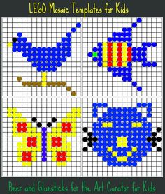 The Art Curator for Kids with Beer and Gluesticks - Lego Mosaic Art Activity - Templates