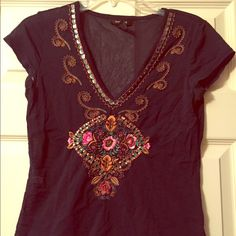 Navy blue sheer to top with bead/embroidery work Gorgeous top! Navy blue/sheer which has beautiful design. Embroidery work and beading that will liven up any outfit. Gently used/good condition. Fits in between small/medium Express Tops