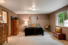 Wooden fixtures turn this room into a livable space.