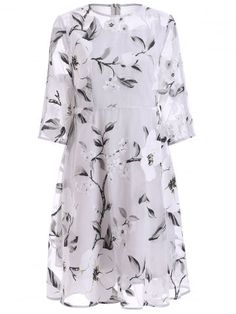 GET $50 NOW   Join RoseGal: Get YOUR $50 NOW!http://www.rosegal.com/print-dresses/3-4-sleeve-floral-print-see-through-686110.html?seid=6945503rg686110