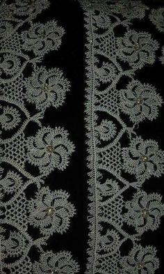 ༺✿༻iğne oyası༺✿༻ Bead Crochet, Crochet Motif, Crochet Lace, Free Crochet, Crochet Borders, Basic Crochet Stitches, Knitting Patterns, Crochet Patterns, Needle Tatting
