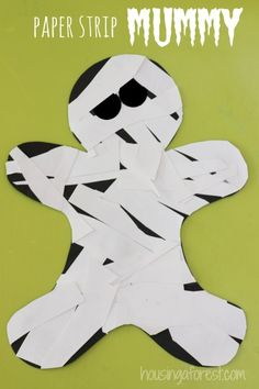 Paper Strip Mummy ~ quick and simple halloween craft idea for preschoolers.