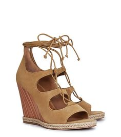 raya suede lace-up wedge sandal