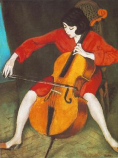 Woman Playing Cello (1928).RóbertBerény (Hungarian, Fauvism, 1887-1953).Oil on canvas.Hungarian National Gallery,Budapest. WhenBerényreturned to Hungary in 1928, he became a leading member of a group of artists whose main aim was to produce art that would draw on tradition, while retaining qualities of abstraction and timelessness.