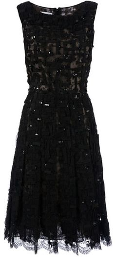 Sequin Embellished Lace Dress by Oscar de la Renta