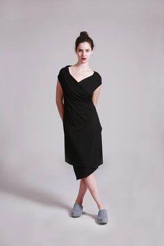 Black Wrap Dress, Little Black Dress, Knee Length Dress, Sleeveless Wrap Dress, Sexy Dress, Black Summer Dress