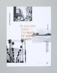 """The Golden State — 770 miles of scenic beauty. We mixed vintage photography of various locations with copper foil to create this limited edition print for your home. Each print is numbered. Limited Edition of 40. Designed to fit the Ikea Ribba frame. 11.75"""" x 15.75"""" (30cm x 40cm) Ships in a flat protective sleeve."""