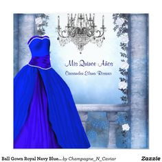 Ball Gown Royal Navy Blue Rose Quinceanera Card Elegant royal navy blue ball gown party dress and white roses Quinceanera invitation. Customize the front and back of this beautiful royal blue Quinceanera invitation by adding your event details, font style, font size & color, and wording. Please note - all of the invitation designs you will find on Zazzle are printed graphics with no actual jewels, bows, raised, embossed, or added parts or pieces.