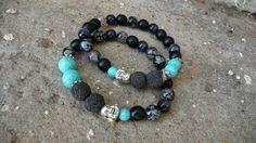 PARTNERSKÉ NÁRAMKY PRO NI A PRO NĚJ - cena za oba Partnerské náramky s Buddhou. Pánský náramek má dva tyrkysové korálky o průměru cca 10,3 mm - podobná velikost jako dva sousední lávové kameny a dámský jen ve velikosti 8 mm. Další drobný rozdíl jsou dva mezidíly ve stříbrné barvě. U pánského náíramku jsem použila kovové komponenty z tibetského nealergenního... Beaded Bracelets, Jewelry, Fashion, Moda, Jewlery, Jewerly, Fashion Styles, Pearl Bracelets, Schmuck