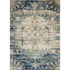 Anchor your den or living room seating group with this hand-woven rug, featuring a Persian-inspired motif in blue & ivory. Product: ...