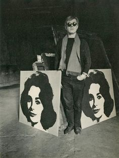 lotusgurl from tumblr | Evelyn Hofer photograph of Andy Warhol with Liz Taylor screenprints