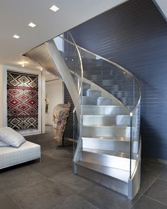 65 Inspirational Photos Of Curved Glass Staircase Glass Stair Balustrade, Stair Handrail, Curved Staircase, Staircase Design, Stair Design, Spiral Staircases, Stainless Steel Staircase, Glass Stairs, Steel Stairs
