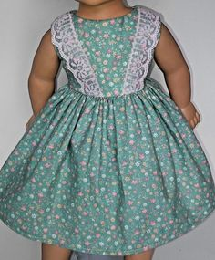 Handmade/Flowers and Lace Dress/American Girl Dolls/18 Inches. #Handmade