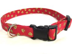 Dog collar-Heart of gold dog collar-red by DazzleDoggieDesigns