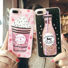 Cute Drink Bottle Ice Cream Glitter Star Dynamic Liquid Quicksand Phone Case For IPhone 6 Cases 6S 7 Plus For Iphone 7 Plus case Price: 2.93 USD #iphone6spluscase,