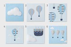 Arte Bebé decorações de balão de ar quente. azul e cinza por Nuppi