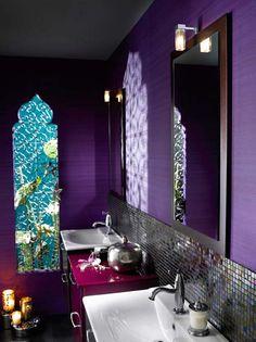 Majestic Purple Moroccan Style Bathroom Interior Design Home Decor