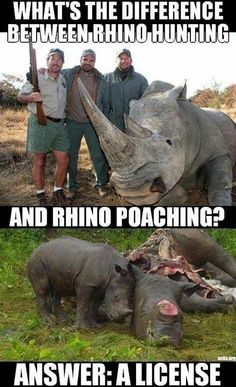 Sport hunting is the exact same as poaching except they pay to kill highly endangered animals. STOP THE SLAUGHTER OF BIG GAME ENDANGERED ANIMALS