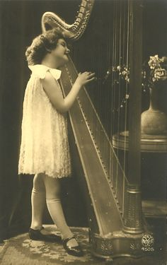 All sizes | Vintage Postcard ~ Girl Playing Harp | Flickr - Photo Sharing!