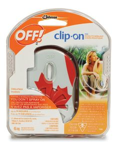 A Canadian Flag on the faceplate of this Off! Mosquito clip-on. Sprayless repellent that repels mosquitoes for up to 11 hours!